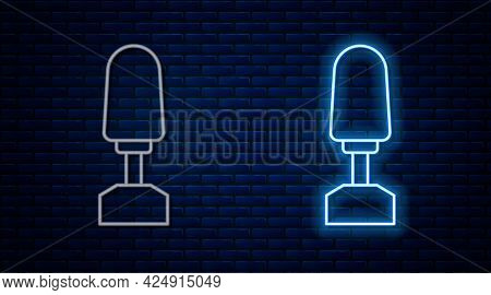 Glowing Neon Line Milling Cutter For Manicure Icon Isolated On Brick Wall Background. Apparatus For