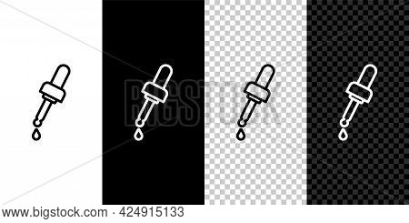 Set Line Pipette With Oil Icon Isolated On Black And White, Transparent Background. Organic Aromathe