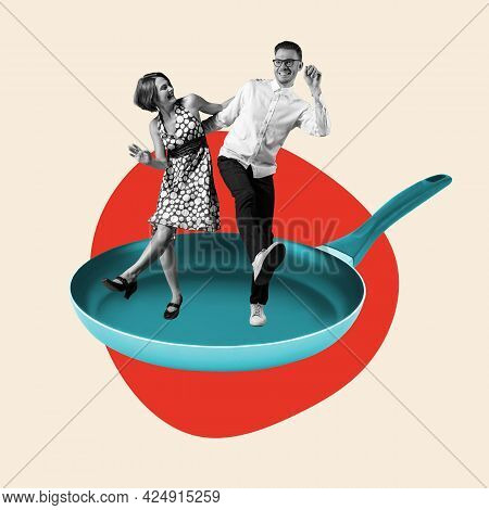 Contemporary Art Collage, Modern Design. Summer Mood. Couple Of Dancers Dancing On Pan Isolated On L