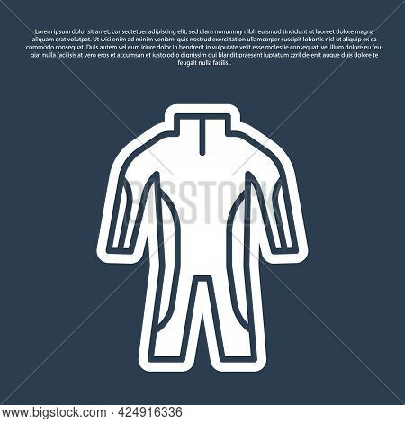 Blue Line Wetsuit For Scuba Diving Icon Isolated On Blue Background. Diving Underwater Equipment. Ve