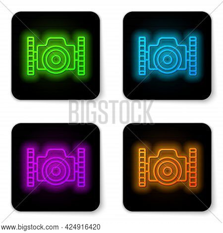 Glowing Neon Line Photo Camera For Diver Icon Isolated On White Background. Foto Camera Icon. Diving