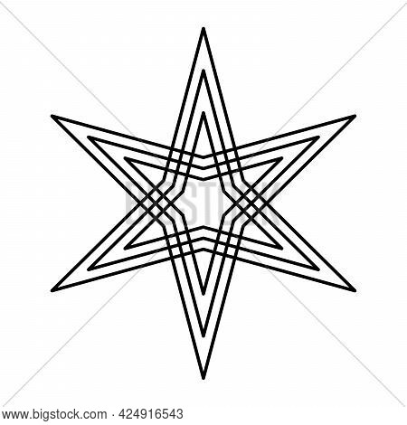 Six-pointed Star With Offset Lines. Two Three-pointed Stars, Each With Three Lines, Placed Symmetric