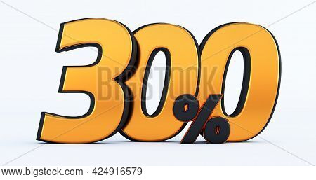 Three Hundred 300% Off On Sale. Gold Percent Isolated On White Background. 3d Render Of A Gold  Thre
