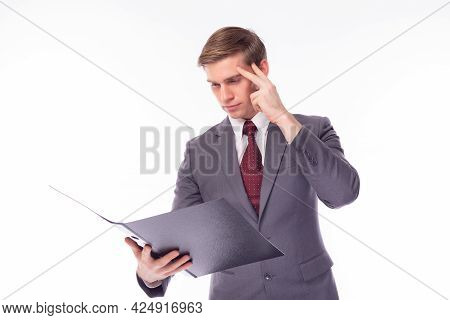 Handsome Young Business Man Working On Documents Or Paperwork Caucasian Men Wear Formal Suit Executi