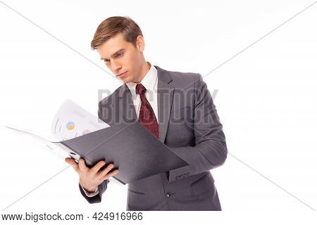 Handsome Young Businessman Working On Documents Or Paperwork Caucasian Men Wear Suit And Necktie Exe