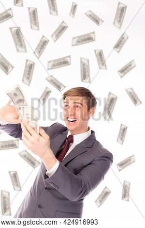 Happy Confidence Businessman Holding Suit With Blank Copy Space Area For Text Or Advertising Standin