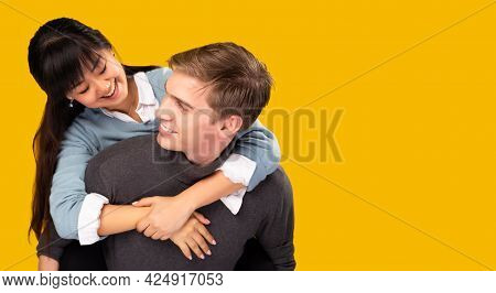 Love Forever Romance Young Mix Couple Over Yellow Background Copy Space Young Handsome Boyfriend Pig