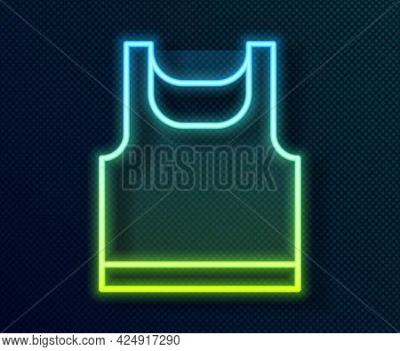 Glowing Neon Line Sleeveless Sport T-shirt Icon Isolated On Black Background. Vector