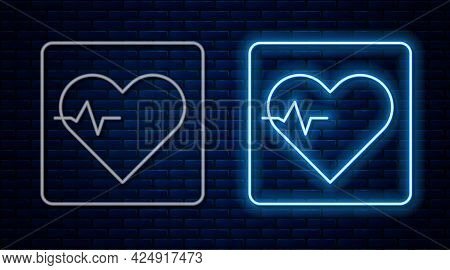 Glowing Neon Line Heart Rate Icon Isolated On Brick Wall Background. Heartbeat Sign. Heart Pulse Ico