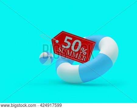 Lifebuoy With Fifty Percent Summer Discount Label On Blue. 3d Illustration
