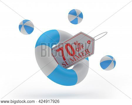 Lifebuoy With Seventy Percent Summer Discount Label On White. 3d Illustration