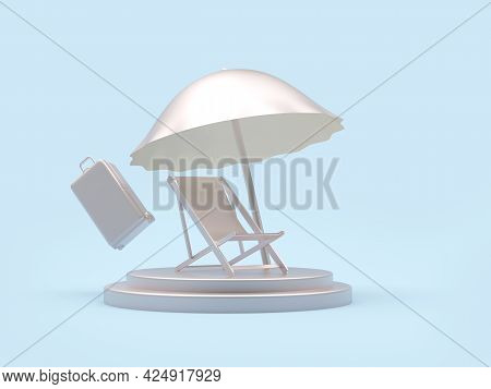 Silver Chaise Lounge With Beach Umbrella And Suitcase On A Stand On Blue. 3d Illustration