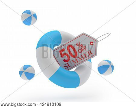 Lifebuoy With Label Fifty Percent Summer Discount On White. 3d Illustration