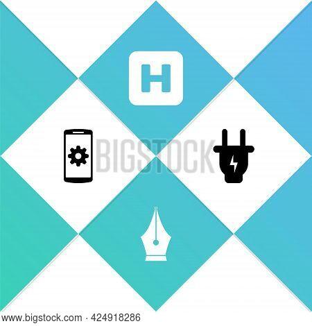 Set Setting On Smartphone, Fountain Pen Nib, Hospital And Electric Plug Icon. Vector