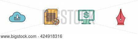 Set Cloud Download, Transfer Files, Monitor With Dollar And Fountain Pen Nib Icon. Vector