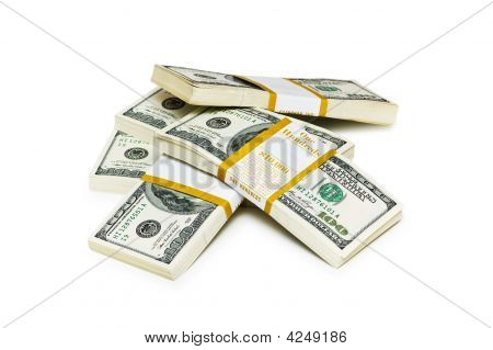 Ten Thousand Dollar Stacks On The White