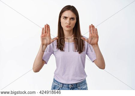 Stop It, No. Serious Angry Woman Raise Hands In Block, Stay Back, Prohibit Or Reject Something, Decl
