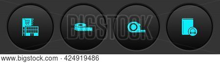 Set Mall Or Supermarket Building, Tape Measure, Roulette Construction And Audio Book Icon. Vector