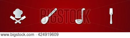 Set Chef Hat And Fork, Kitchen Whisk, Ladle And Fork Icon. Vector