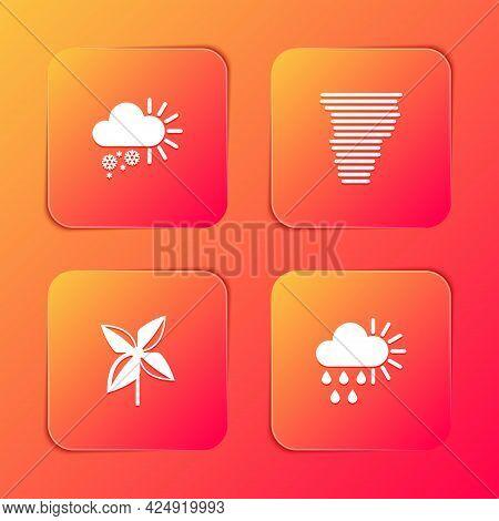 Set Cloudy With Snow, Tornado, Pinwheel And Rain And Sun Icon. Vector