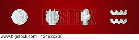 Set Solar System, Ox Zodiac, Palmistry Of The Hand And Aquarius Icon. Vector