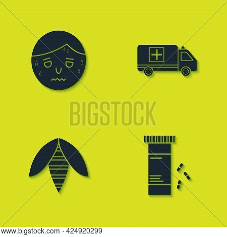 Set Man With Excessive Sweating, Medicine Bottle And Pills, Bee And Emergency Car Icon. Vector