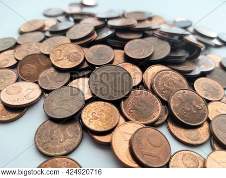 Euro Cent Coins Money On The Table.