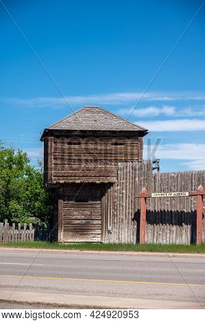 Fort Macleod, Alberta - June 13, 2021: Historic Pallisades Of Fort Mcleod.