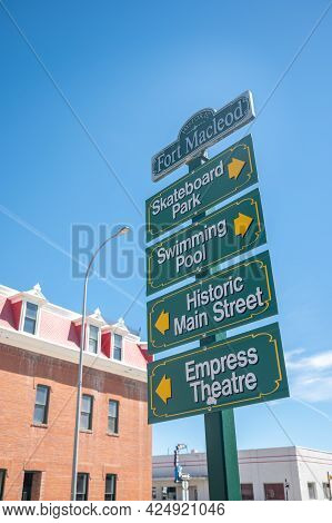 Fort Macleod, Alberta - June 13, 2021: Historic Sign In The Heart Of Fort Mcleod's Beautiful Downtow