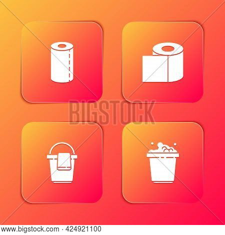 Set Paper Towel Roll, Toilet Paper, Bucket With Rag And Soap Suds Icon. Vector