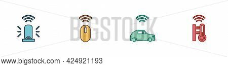 Set Smart Flasher Siren, Wireless Mouse, Car System With Wireless And Thermometer Icon. Vector