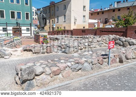 Bytow, Poland - May 31, 2021: Remains Of The Former Church Of St. Catherine's Are In Pottery Square.