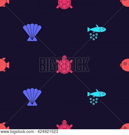 Set Fish With Caviar, Scallop Sea Shell, Turtle And Puffer Fish On Seamless Pattern. Vector
