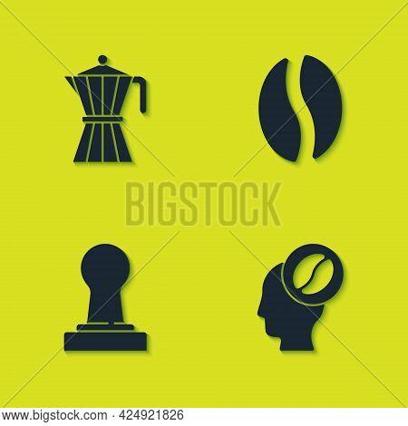 Set Coffee Moca Pot, Barista, Tamper And Beans Icon. Vector