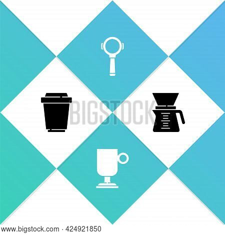 Set Coffee Cup To Go, Irish Coffee, Filter Holder And Pour Over Coffee Maker Icon. Vector