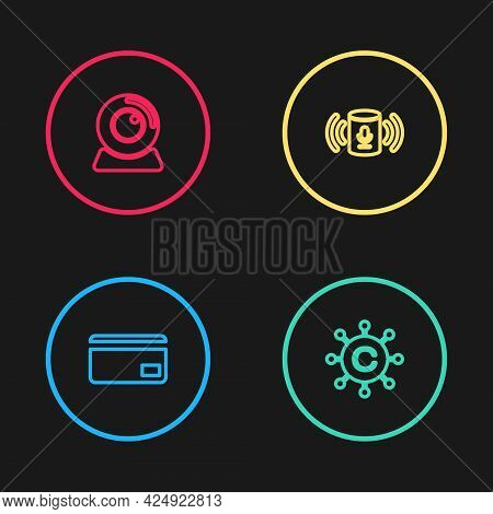 Set Line Credit Card, Copywriting Network, Voice Assistant And Web Camera Icon. Vector