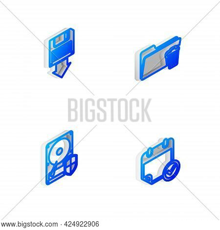 Set Isometric Line Delete Folder, Floppy Disk Backup, Hard Drive Hdd Protection And Calendar With Ch