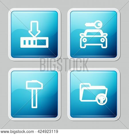 Set Line Loading, Car Rental, Hammer And Unknown Directory Icon. Vector