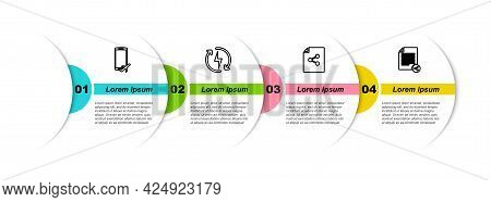 Set Line Flight Mode In The Mobile, Recharging, Share File And . Business Infographic Template. Vect