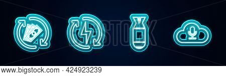 Set Line Refund Money, Recharging, Aviation Bomb And Music Streaming Service. Glowing Neon Icon. Vec