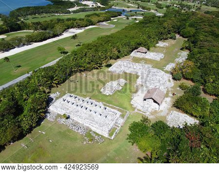 Maya Ruin El Rey Archaeological Site Aerial View, Cancun, Quintana Roo Qr, Mexico.