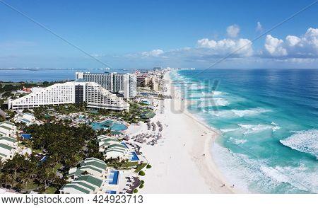 Cancun beach and Iberostar Selection Cancun Resort, Seadust Cancun Family Resort panorama aerial view, Cancun, Quintana Roo QR, Mexico.