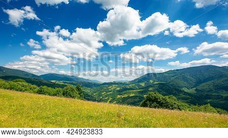 Countryside Landscape In Mountains. Grassy Meadow On The Hill. Beautiful Nature Landscape. Sunny Sum