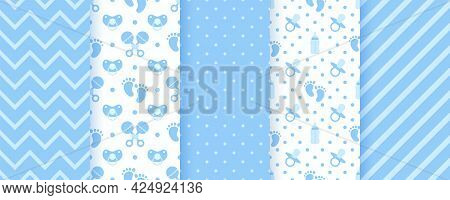 Baby Blue Seamless Patterns. Pastel Prints. Baby Shower Backgrounds. Vector. Set Of Kids Textures. C