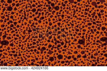 Abstract Modern Leopard Seamless Pattern. Animals Trendy Background. Black And Brown Decorative Vect