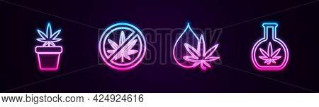 Set Line Marijuana Plant In Pot, Stop Marijuana, Or Cannabis Leaf Oil And Test Tube With. Glowing Ne