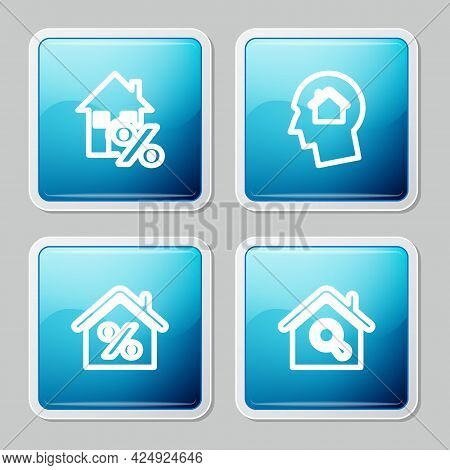 Set Line House With Percant, Man Dreaming About Buying House, And Search Icon. Vector
