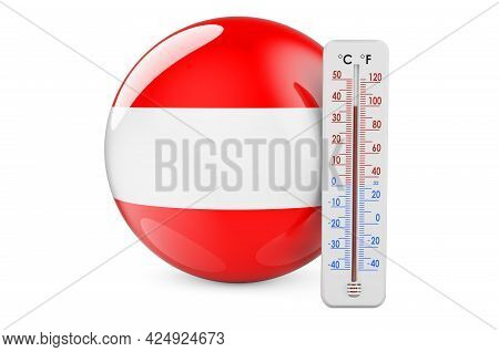 Thermometer With Austrian Flag. Heat In Austria Concept. 3d Rendering Isolated On White Background