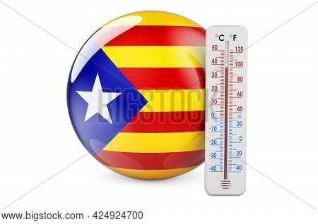 Thermometer With Catalan Flag. Heat In Catalonia Concept. 3d Rendering Isolated On White Background