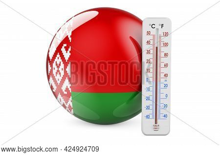 Thermometer With Belarusian Flag. Heat In Belarus Concept. 3d Rendering Isolated On White Background